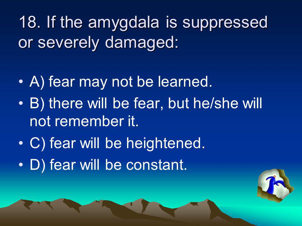 18. If the amygdala is suppressed or severely damaged: