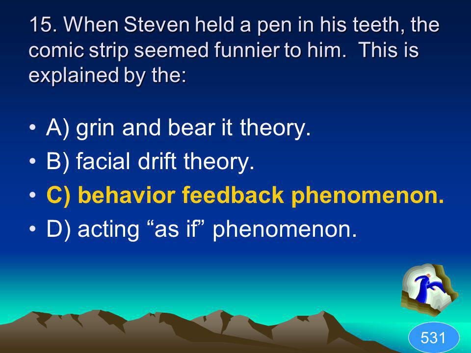 A) grin and bear it theory. B) facial drift theory.