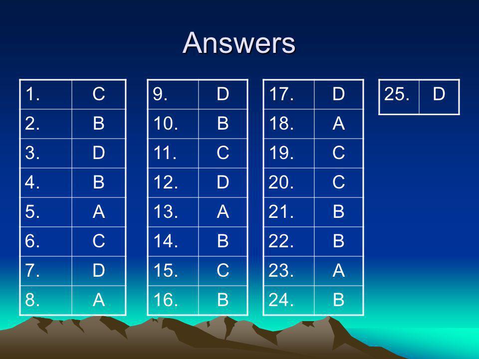 Answers 1. C. 2. B. 3. D. 4. 5. A. 6. 7. 8. 9. D. 10. B. 11. C. 12. 13. A. 14.