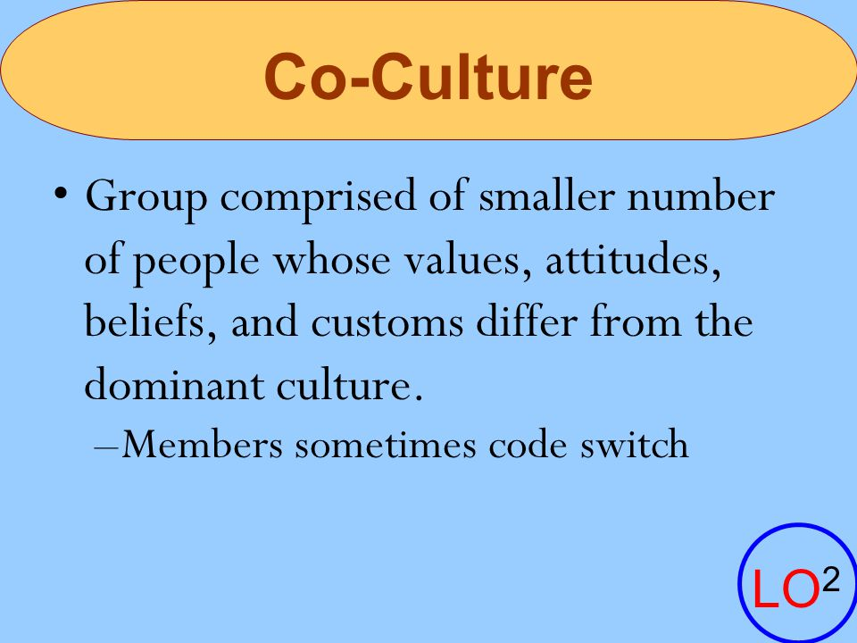 Co-Culture Group comprised of smaller number of people whose values, attitudes, beliefs, and customs differ from the dominant culture.