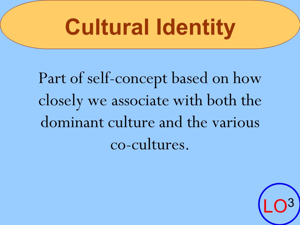 Cultural Identity Part of self-concept based on how closely we associate with both the dominant culture and the various.