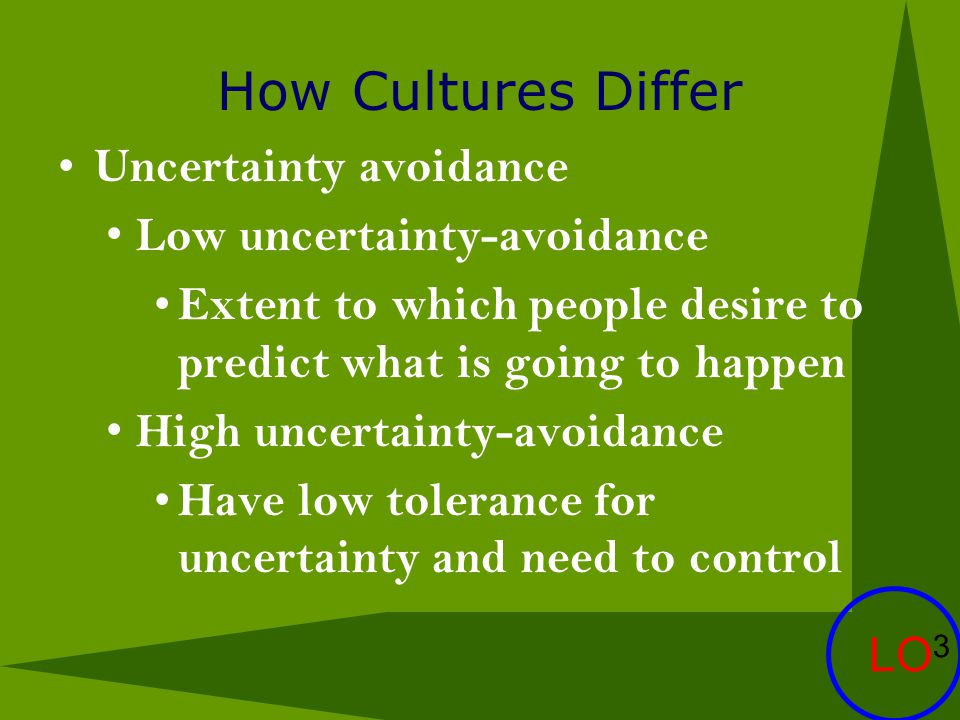 How Cultures Differ Uncertainty avoidance Low uncertainty-avoidance