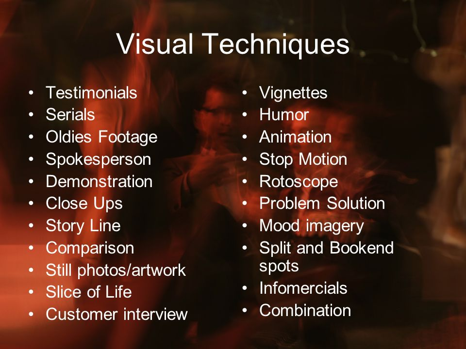 Visual Techniques Testimonials Serials Oldies Footage Spokesperson