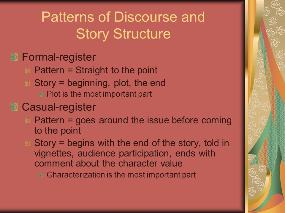 Patterns of Discourse and Story Structure