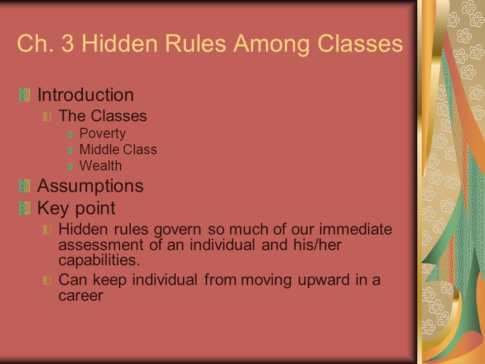 Ch. 3 Hidden Rules Among Classes