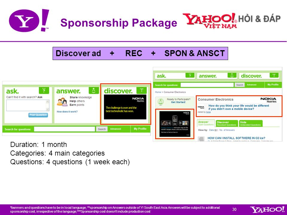 Sponsorship Package Discover ad + REC + SPON & ANSCT Duration: 1 month