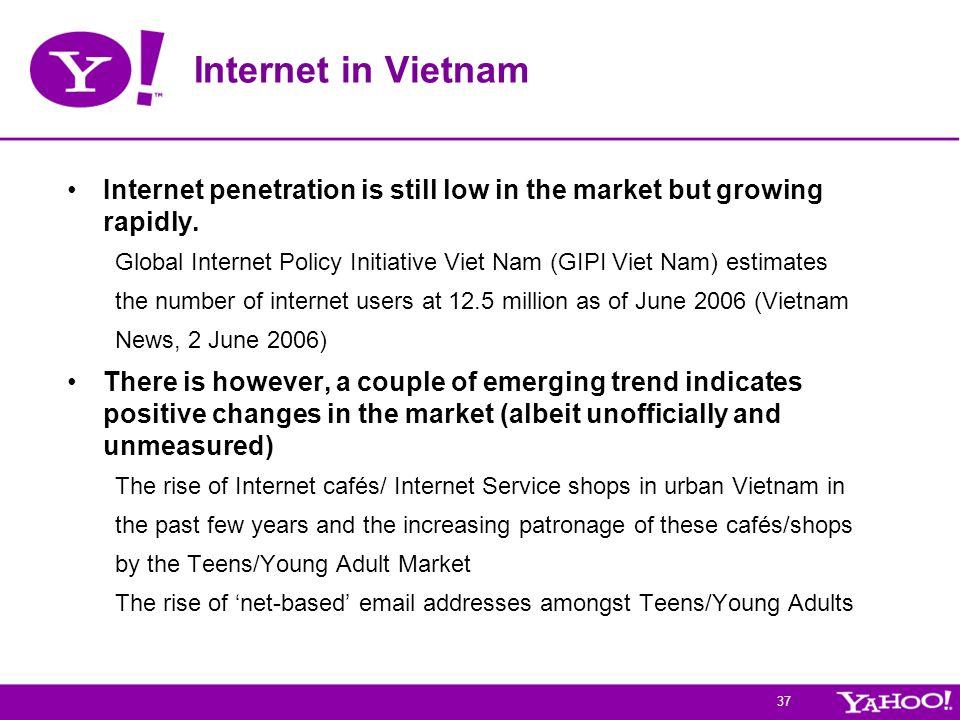 Internet in Vietnam Internet penetration is still low in the market but growing rapidly.