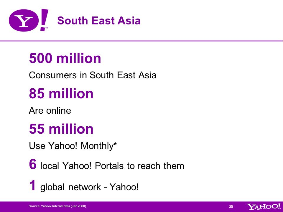 6 local Yahoo! Portals to reach them 1 global network - Yahoo!
