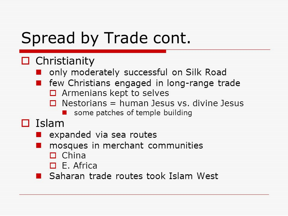Spread by Trade cont. Christianity Islam