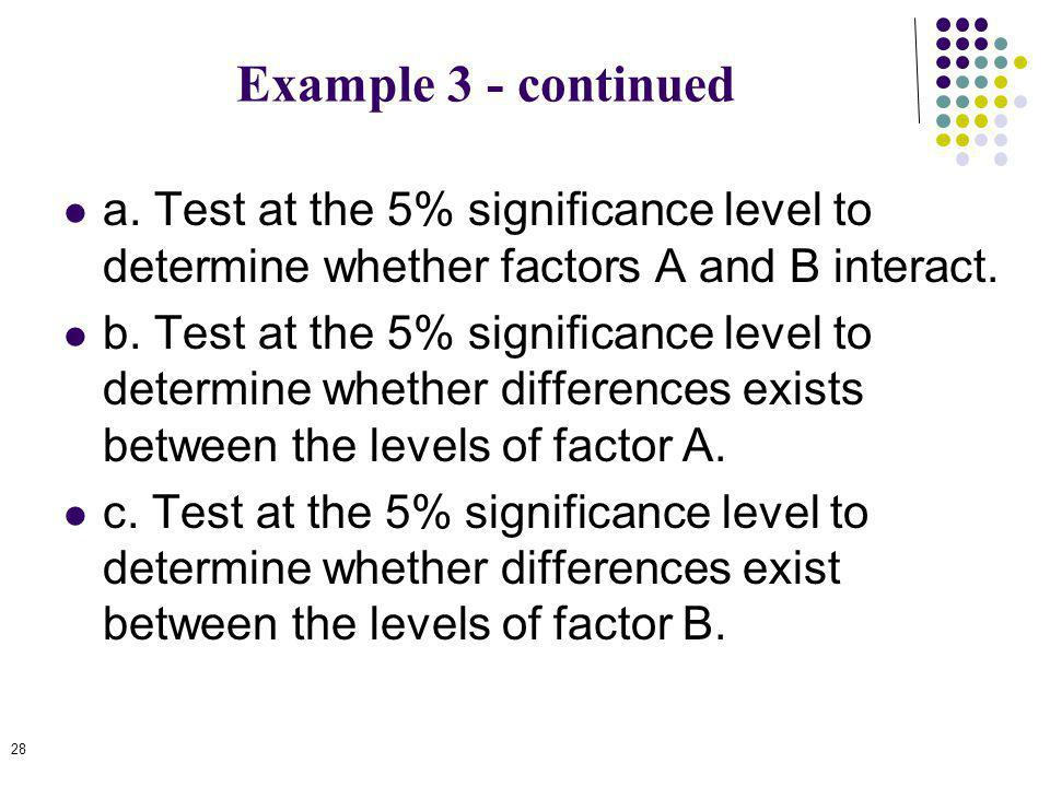 Example 3 - continued a. Test at the 5% significance level to determine whether factors A and B interact.