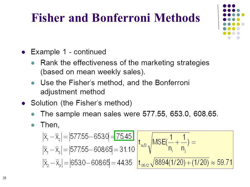 Fisher and Bonferroni Methods