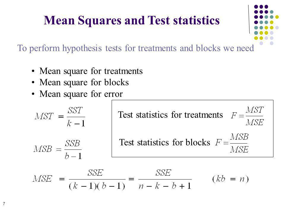 Mean Squares and Test statistics