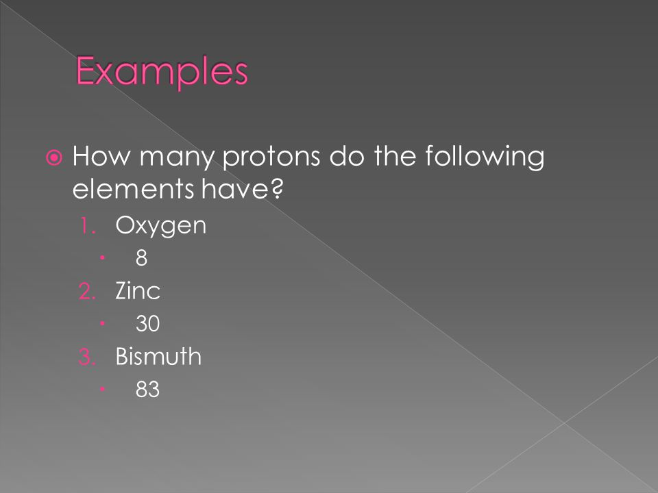 Examples How many protons do the following elements have Oxygen Zinc