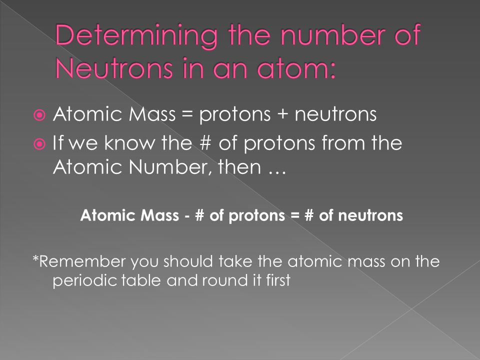 Determining the number of Neutrons in an atom: