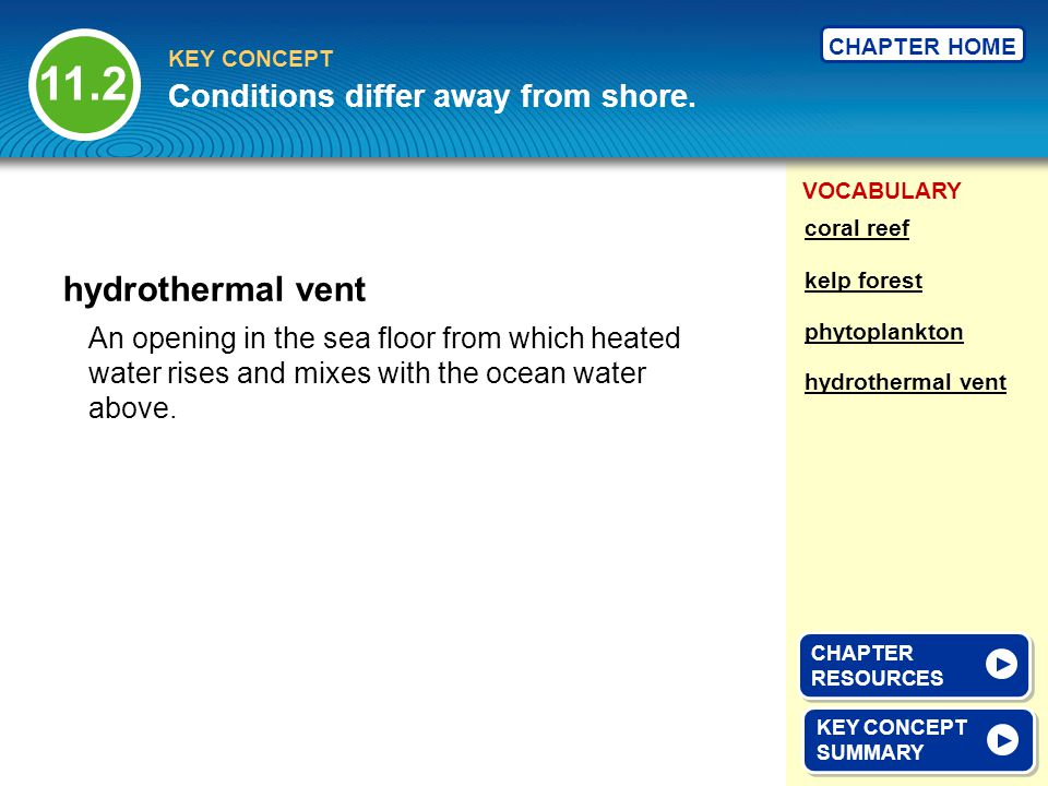 11.2 hydrothermal vent Conditions differ away from shore.