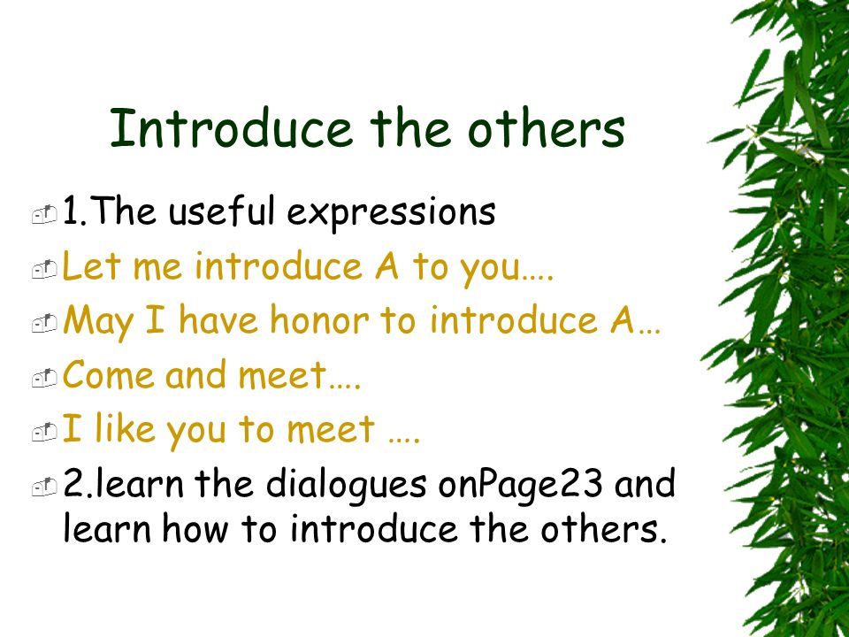 Introduce the others 1.The useful expressions