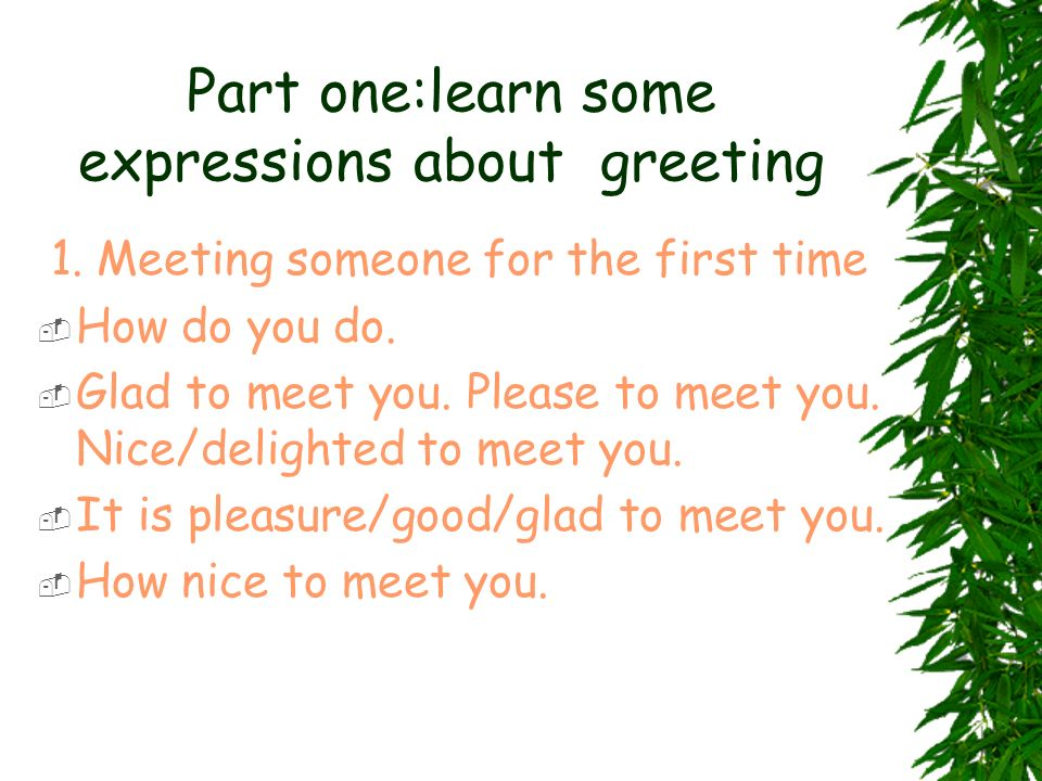 Part one:learn some expressions about greeting