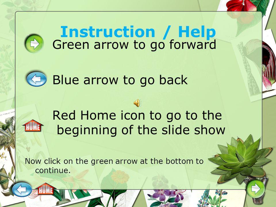 Instruction / Help Green arrow to go forward Blue arrow to go back