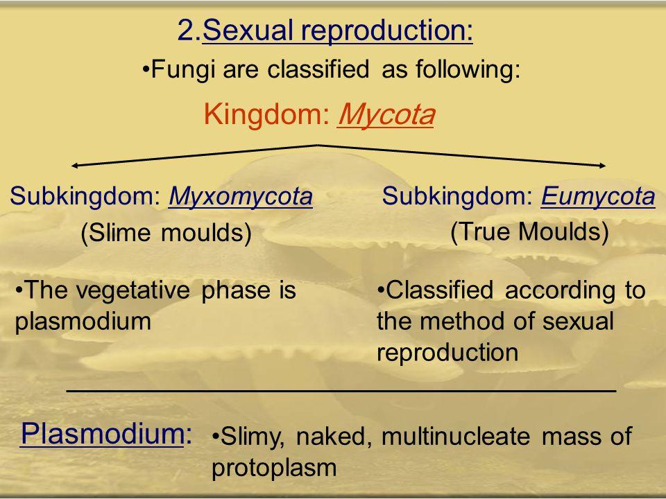 2.Sexual reproduction: Kingdom: Mycota Plasmodium: