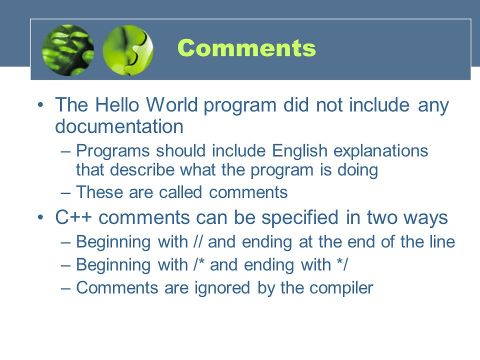 Comments The Hello World program did not include any documentation