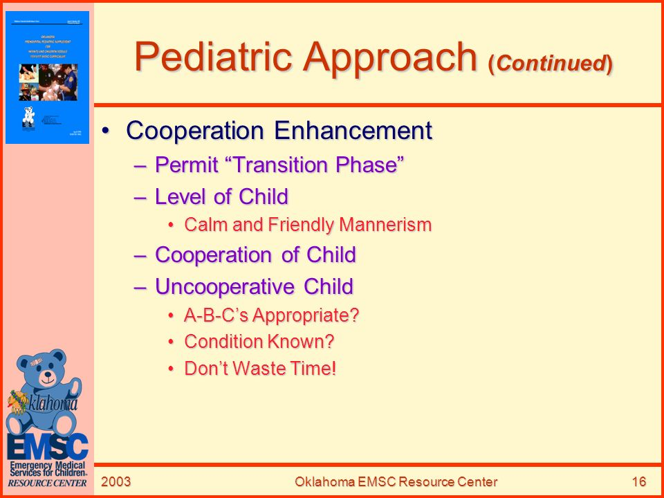 Pediatric Approach (Continued)