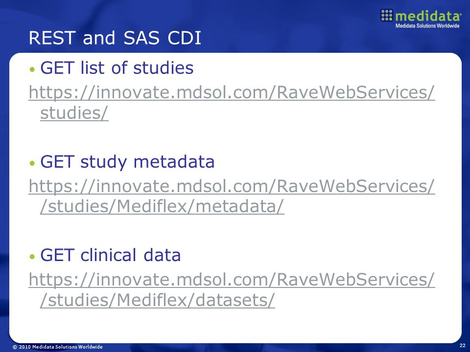 REST and SAS CDI GET list of studies