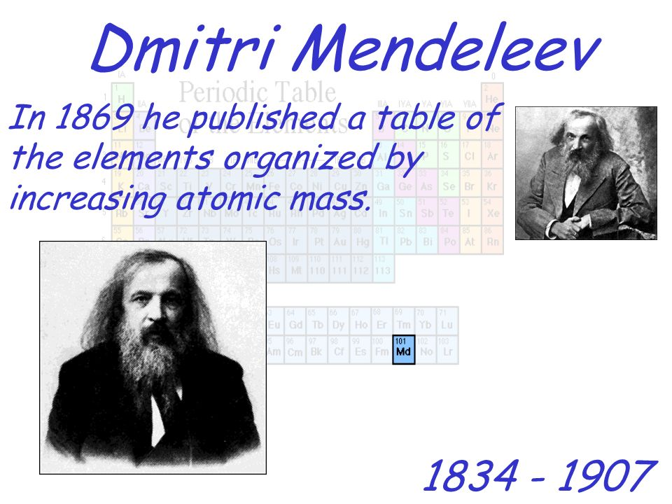 Dmitri MendeleevIn 1869 he published a table of the elements organized by increasing atomic mass.