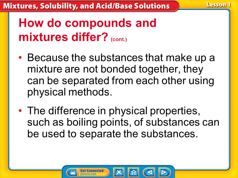 How do compounds and mixtures differ (cont.)