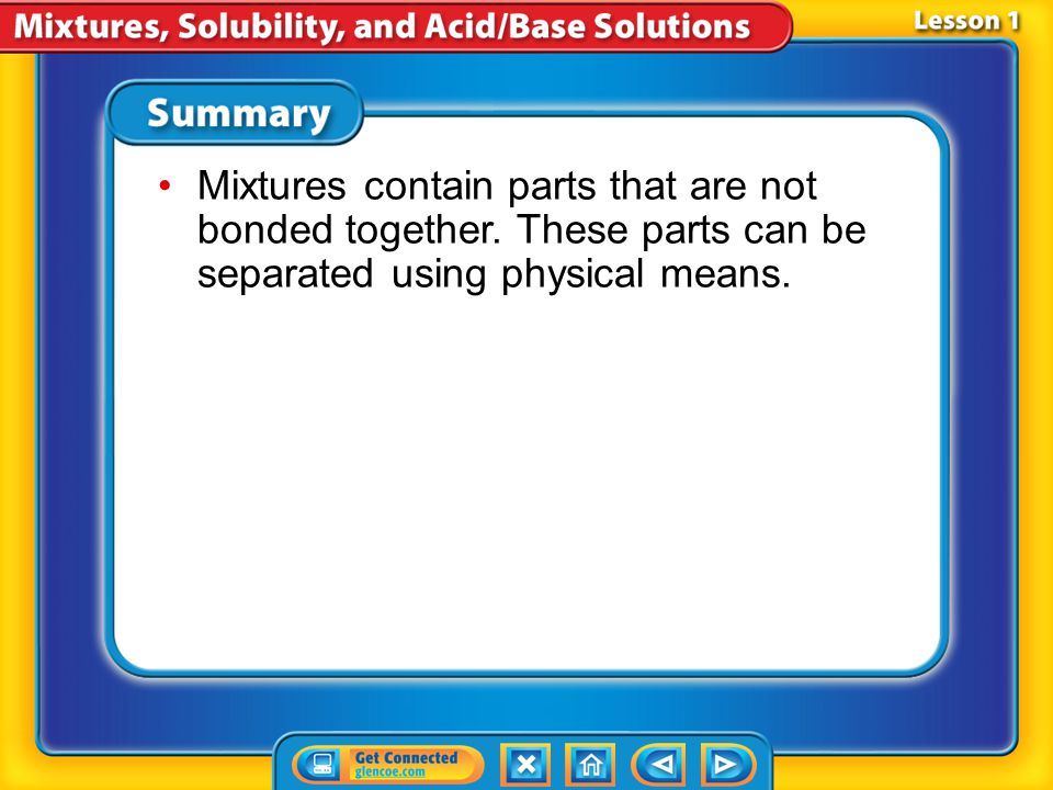Mixtures contain parts that are not bonded together