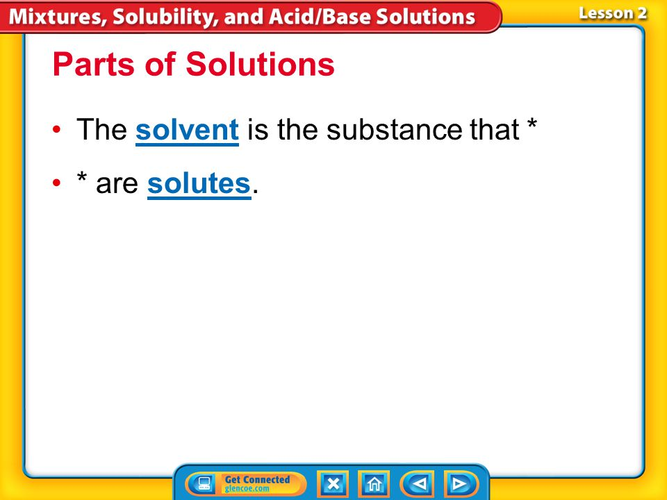 Parts of Solutions The solvent is the substance that * * are solutes.