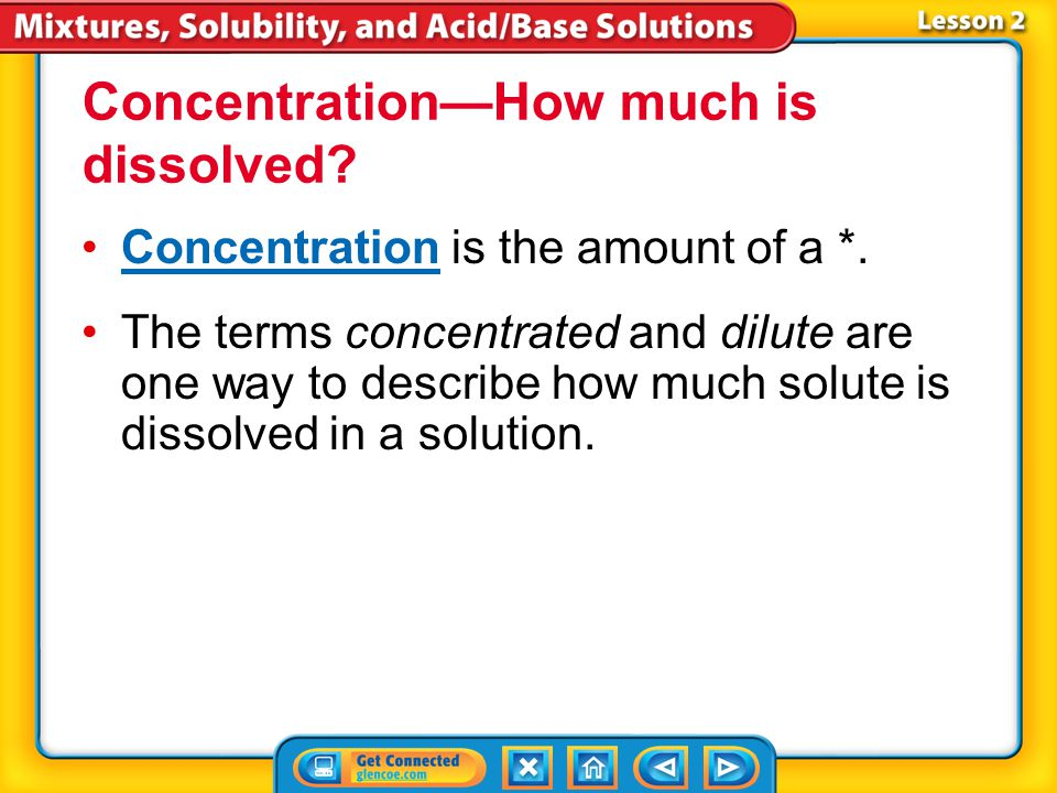 Concentration—How much is dissolved