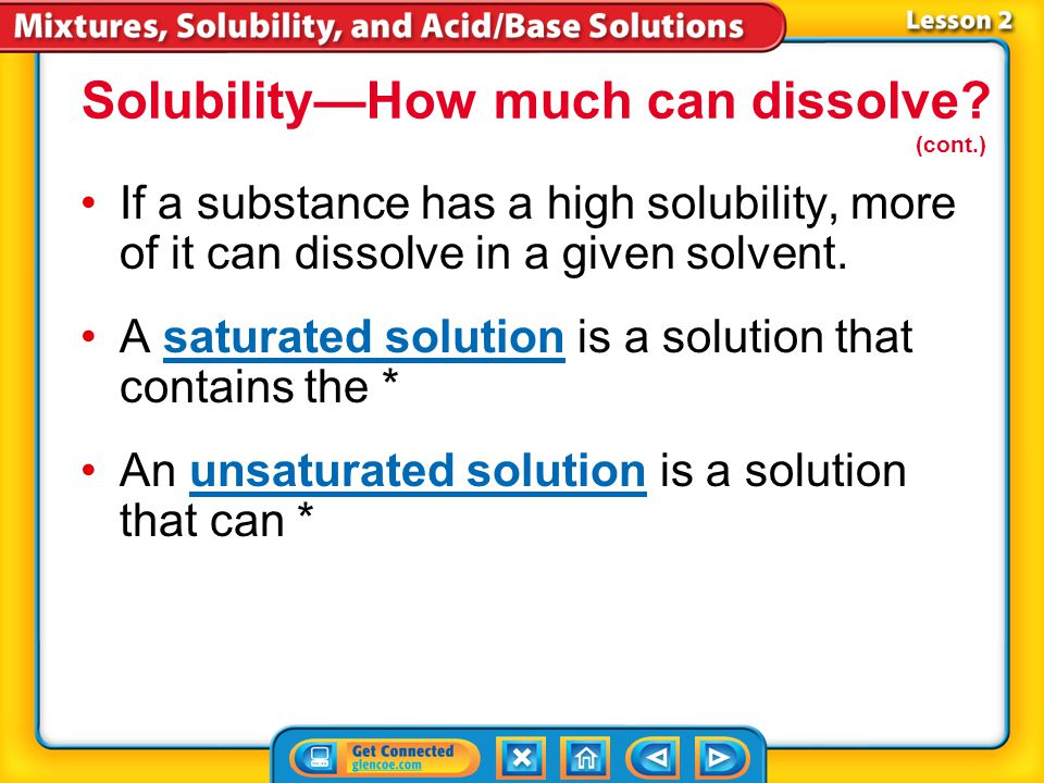 Solubility—How much can dissolve (cont.)
