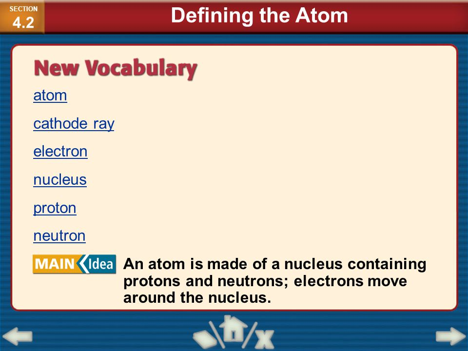Defining the Atom atom cathode ray electron nucleus proton neutron