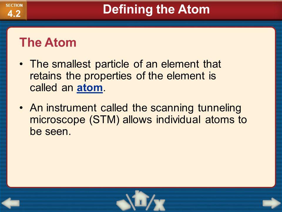 Defining the Atom The Atom