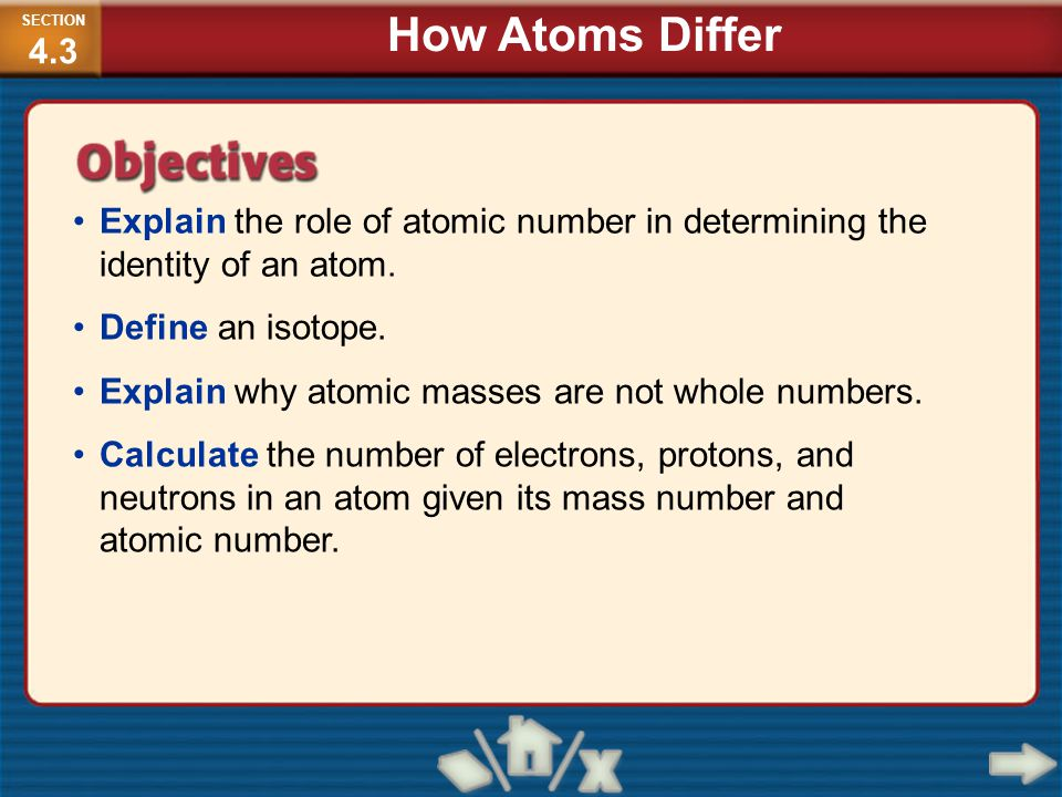 SECTION4.3 How Atoms Differ. Explain the role of atomic number in determining the identity of an atom.