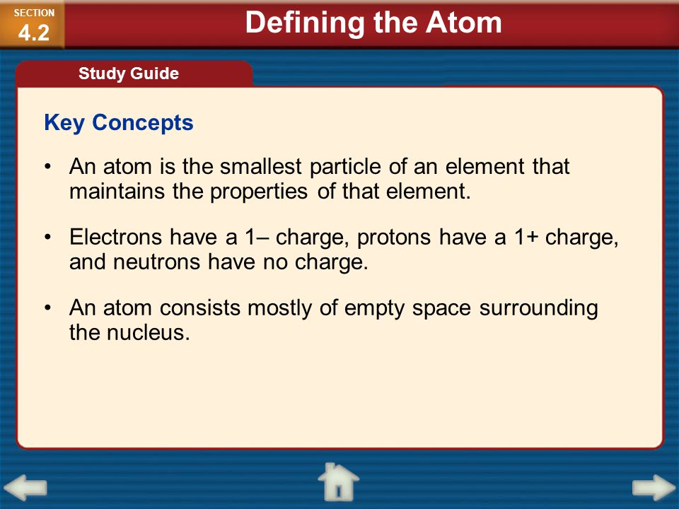 Defining the Atom Key Concepts