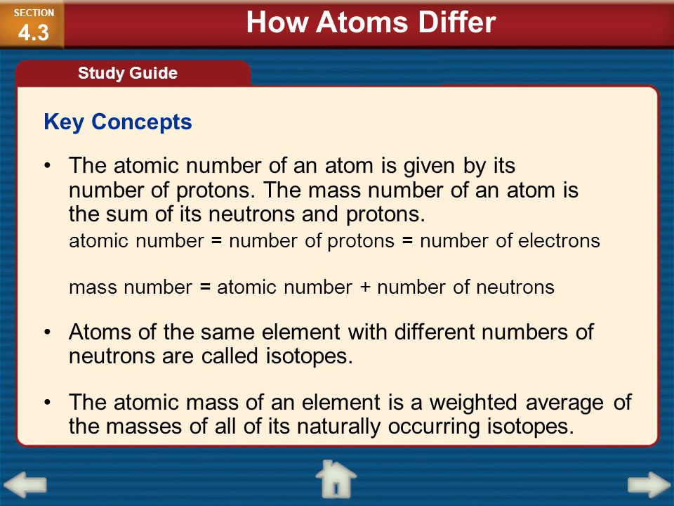 How Atoms Differ Key Concepts