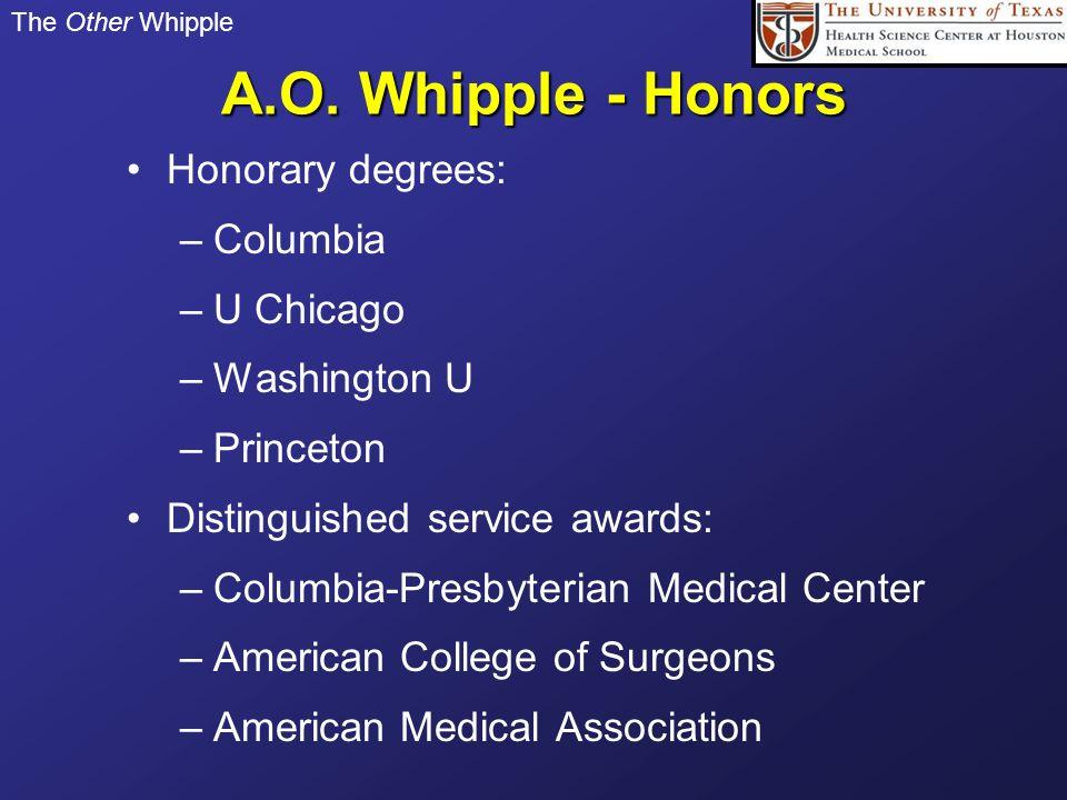 A.O. Whipple - Honors Honorary degrees: Columbia U Chicago