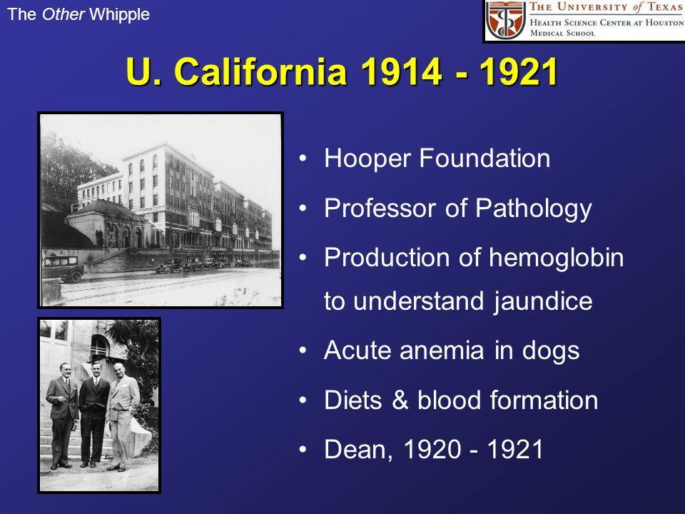 U. California 1914 - 1921 Hooper Foundation Professor of Pathology