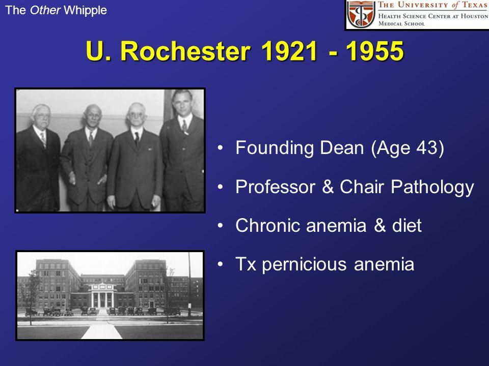 U. Rochester 1921 - 1955 Founding Dean (Age 43)