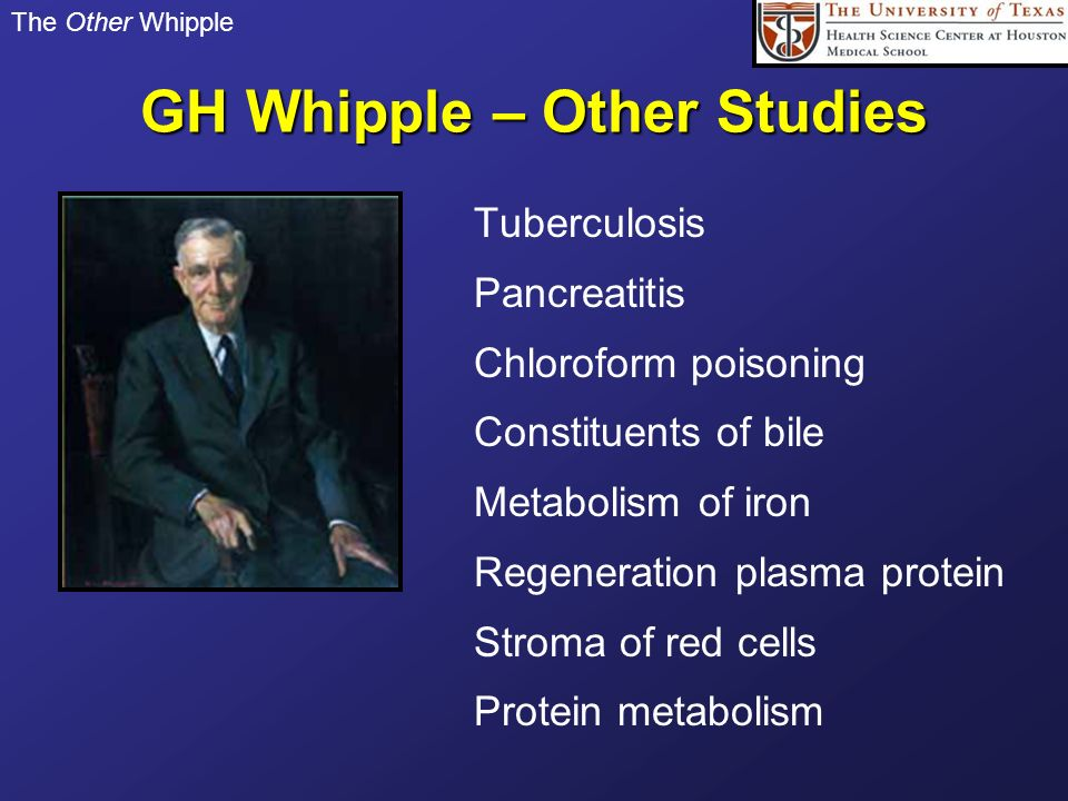 GH Whipple – Other Studies