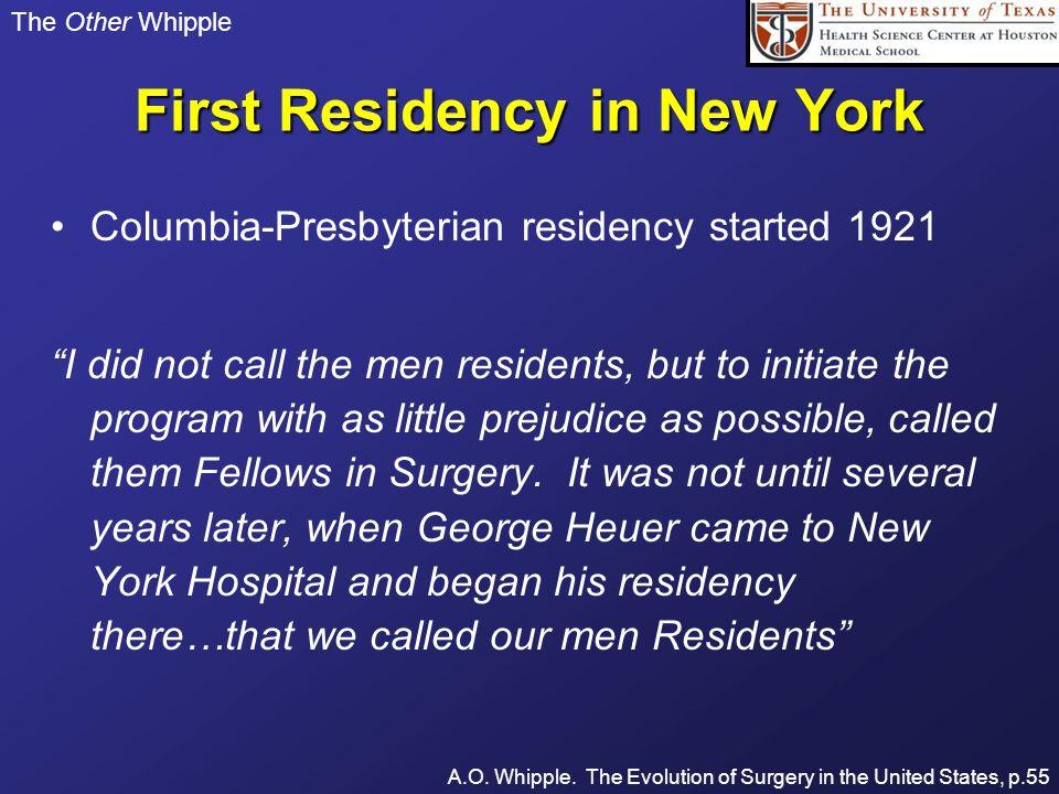 First Residency in New York