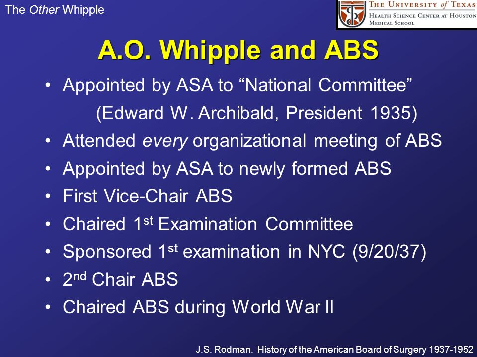 A.O. Whipple and ABS Appointed by ASA to National Committee