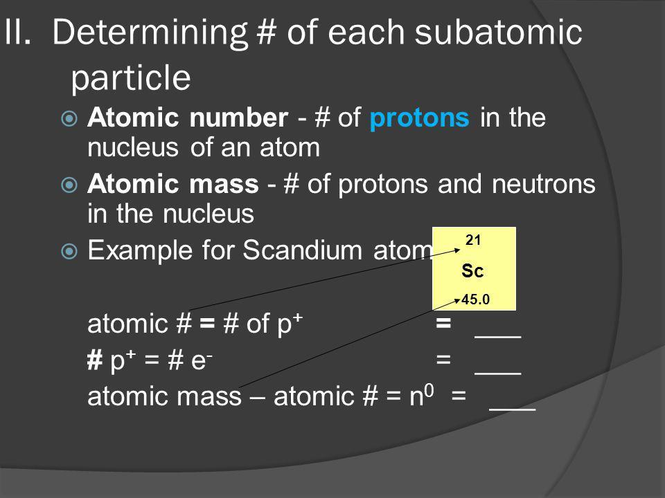 II. Determining # of each subatomic particle
