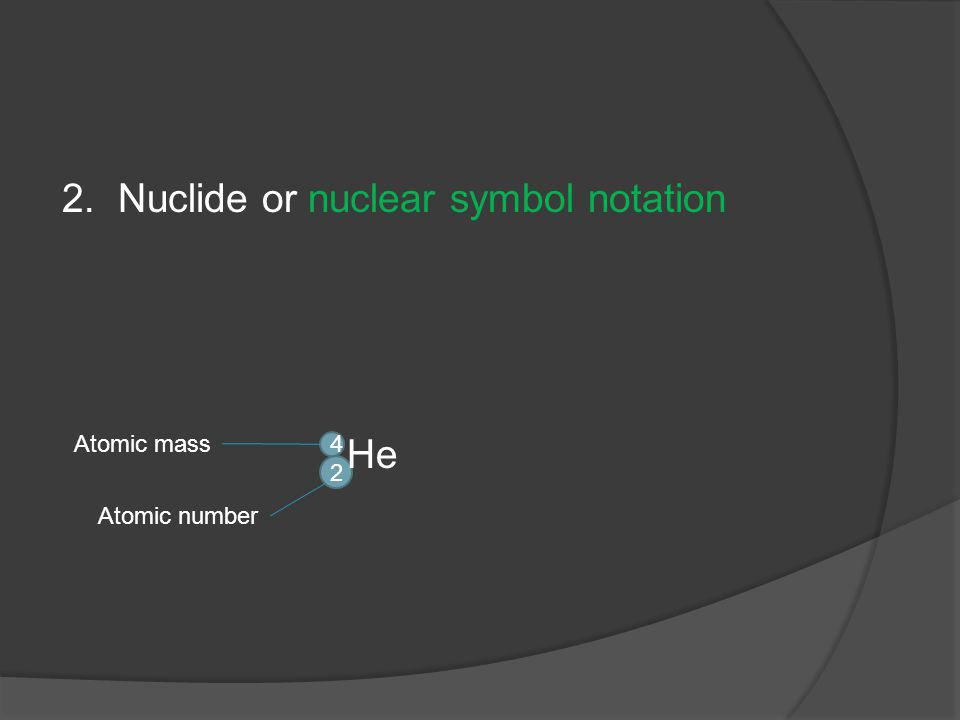 2. Nuclide or nuclear symbol notation