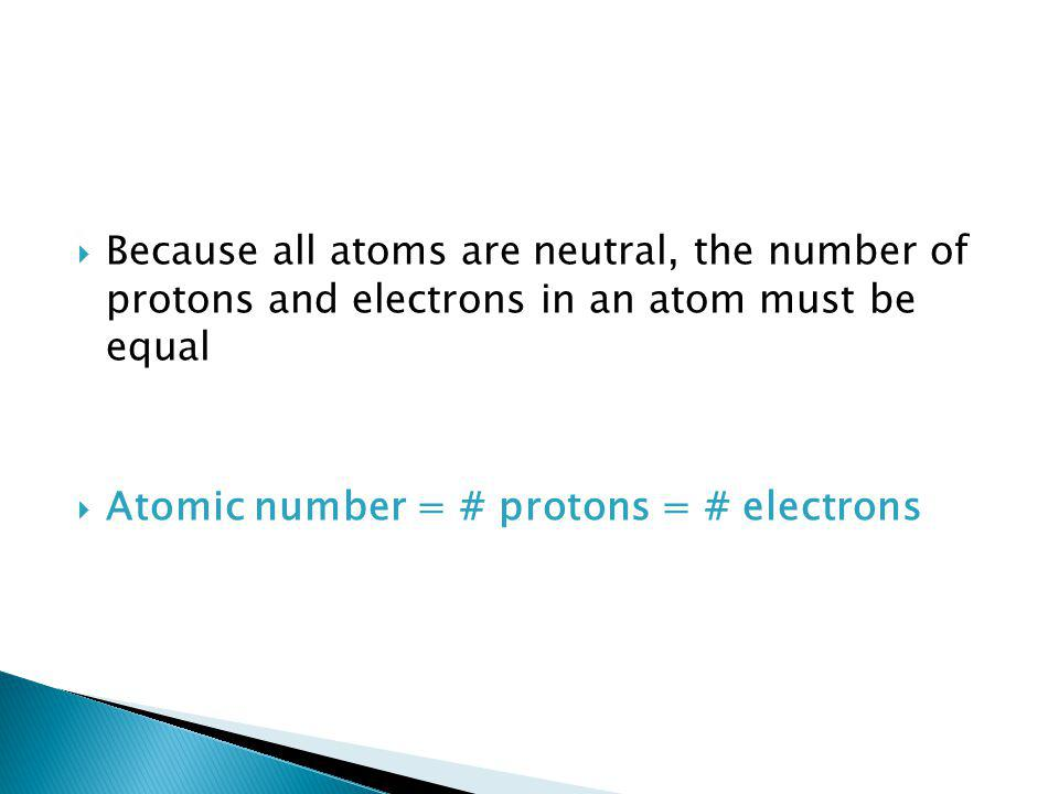 Because all atoms are neutral, the number of protons and electrons in an atom must be equal