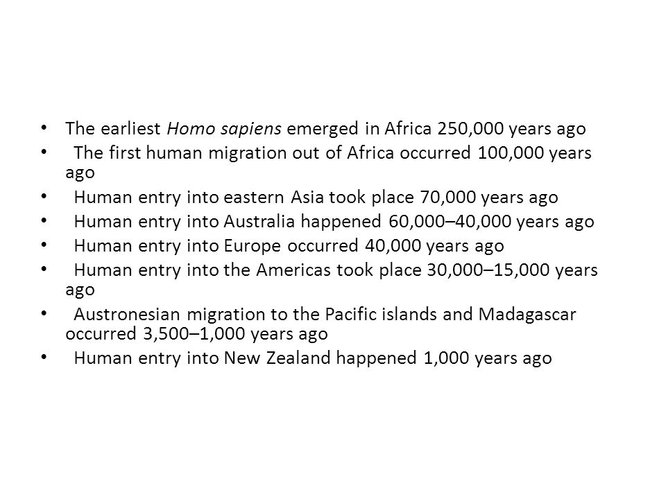 The earliest Homo sapiens emerged in Africa 250,000 years ago