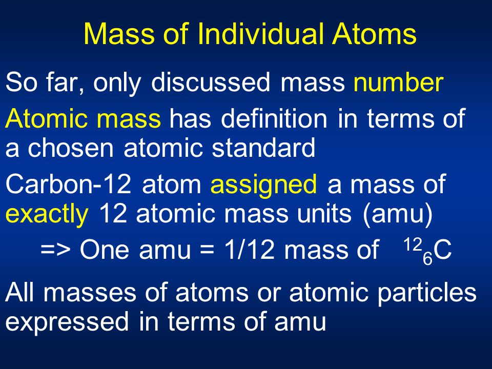 Mass of Individual Atoms