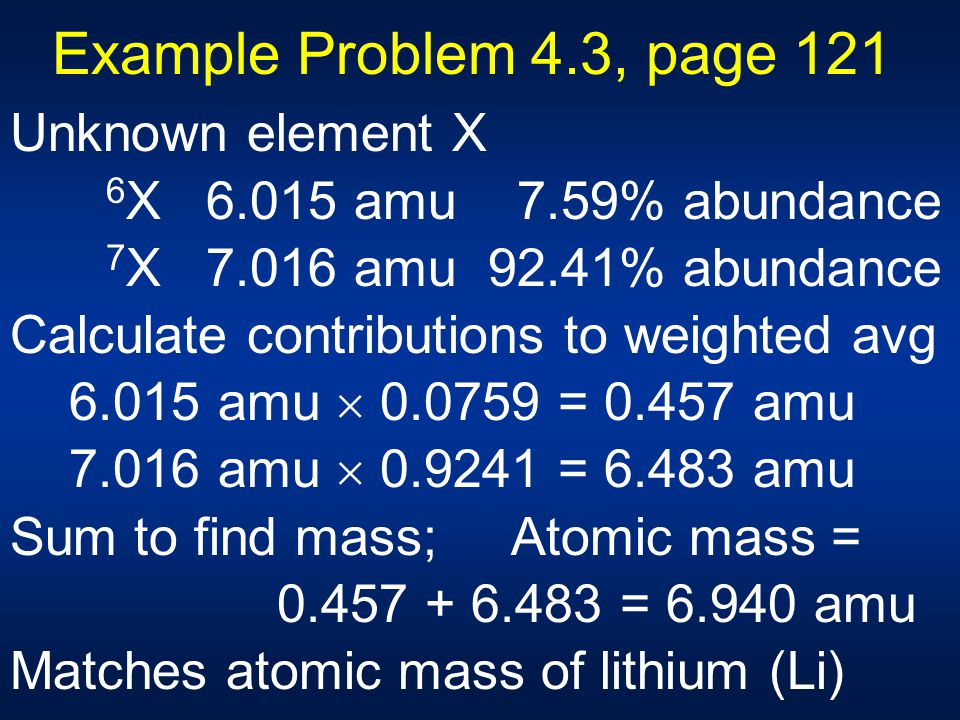 Example Problem 4.3, page 121 Unknown element X