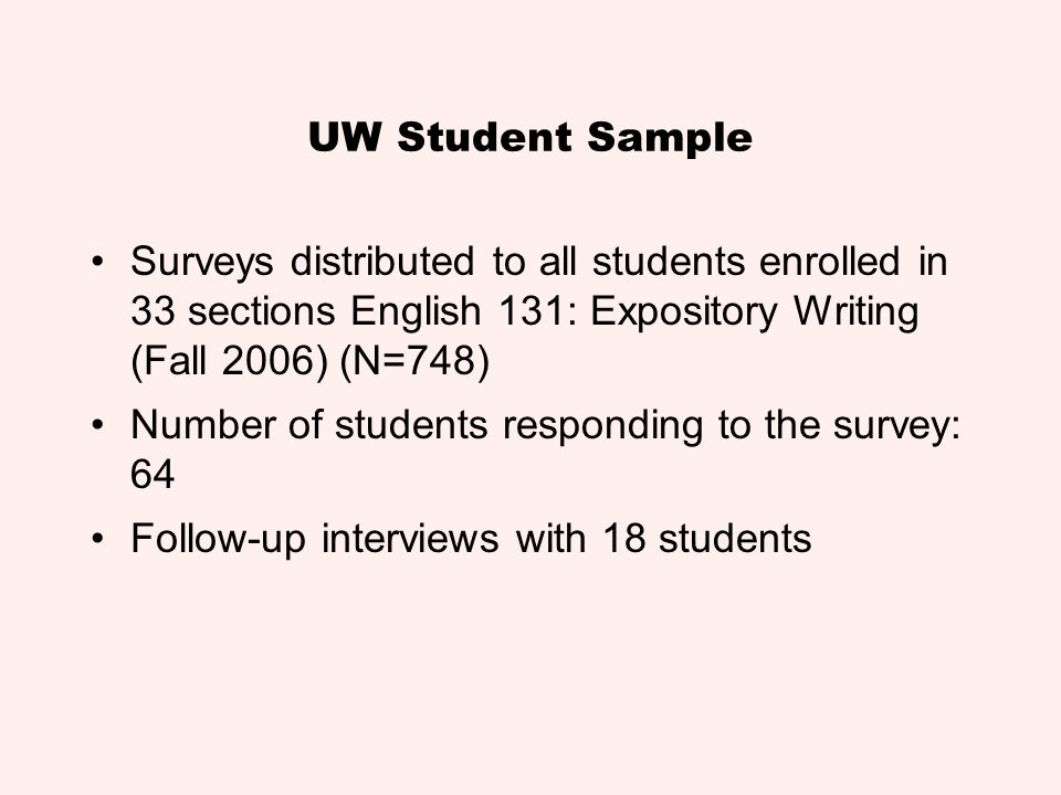 UW Student Sample Surveys distributed to all students enrolled in 33 sections English 131: Expository Writing (Fall 2006) (N=748)